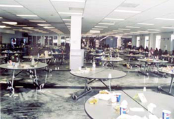 View of the damages to Columbine's cafeteria