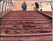 Stripped stairs that lead to Columbine's 2nd floor