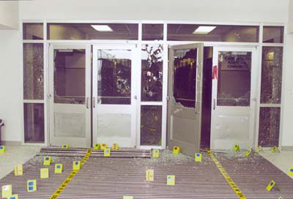 Columbine's west entrance, destroyed by gunfire