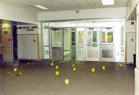 Inside Columbine High School west entrance
